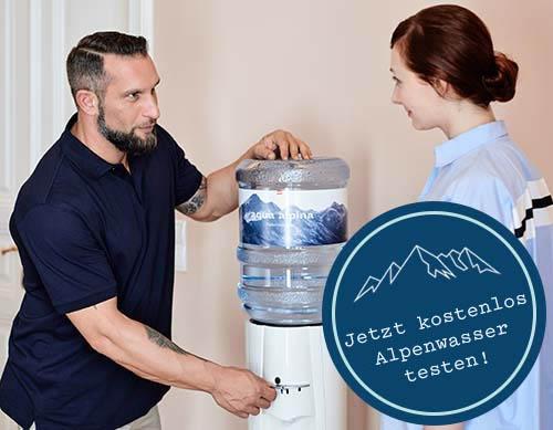 Techniker erklärt die Verwendung des Wasserspenders + 1 Monat gratis testen Signet