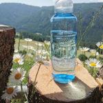 Kavo Flasche in den Alpen mit Blumen und Natur