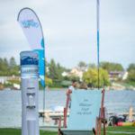 Wasserspender Auf Messe Veranstaltung Mit Beachflag